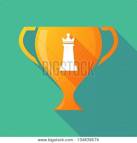 Long Shadow Award Cup Icon With A  Queen   Chess Figure