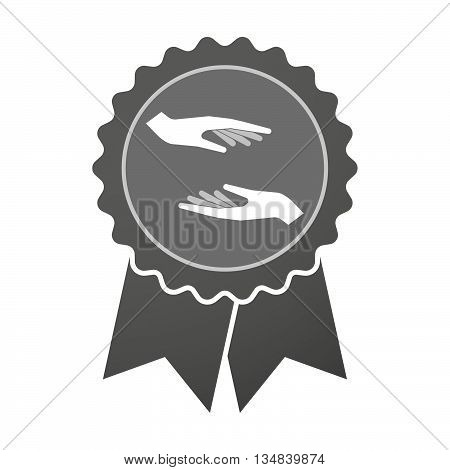 Isolated Award Badge With  Two Hands Giving And Receiving  Or Protecting