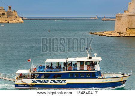 Valletta Malta - May 07 2017: The Grand Harbor estuary to the Mediterranean Sea - Tricity of Valletta Senglea and Birgu on the island Malta