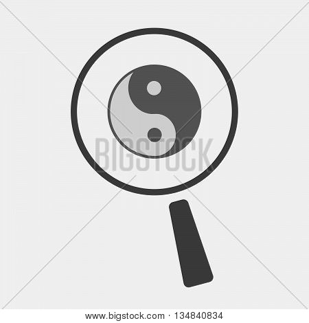 Isolated Magnifier Icon With A Ying Yang
