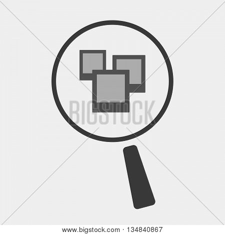 Isolated Magnifier Icon With A Few Photos