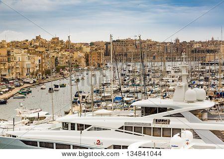 Valletta Malta - May 07 2017: In bay The Grand Harbor Tricity of Valletta Birgu and Senglea on the island Malta