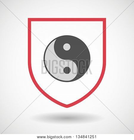 Isolated Line Art Shield Icon With A Ying Yang