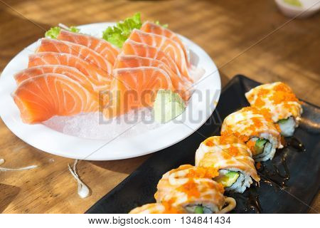 close up salmon sashimi on ice japanese style cuisine