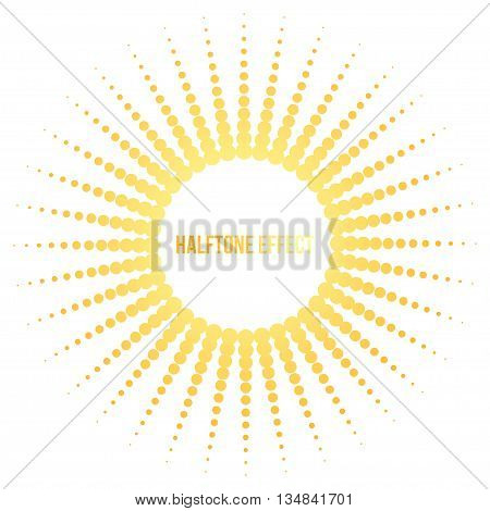 Vector sun illustration with halftone effect. Yellow and orange colorful object on white background. Circular pattern and straight rays.
