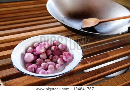 shallot is ingredient for cook of Thai food