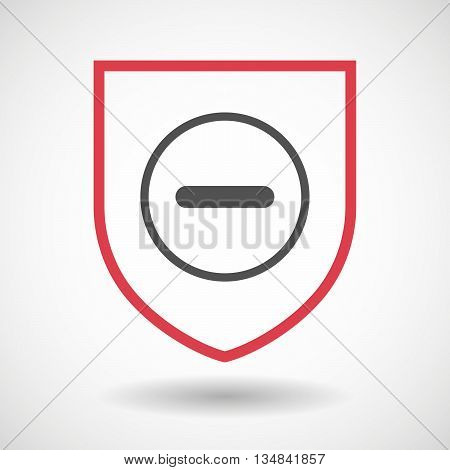 Isolated Line Art Shield Icon With A Subtraction Sign