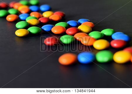 Closeup of the pile of colorful sweet bonbons.