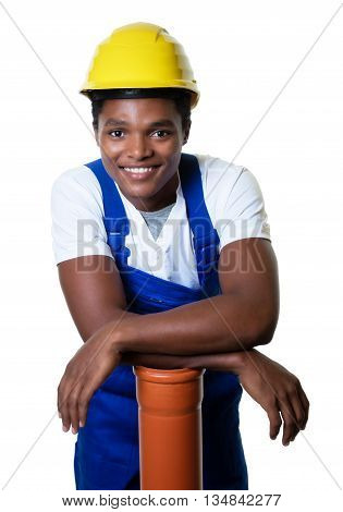 Laughing african american construction worker with pipe on an isolated white background for cut out