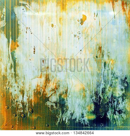 Glamour vintage frame, decorative grunge background. Aged texture with different color patterns: yellow (beige); green; blue; red (orange); white; cyan
