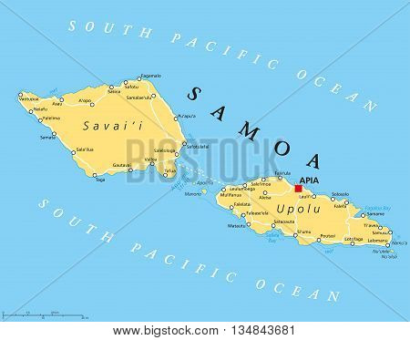 Samoa political map with capital Apia and important places. Formerly known as Western Samoa, part of Samoan Islands, with main islands Savaii and Upolu. English labeling and scaling. Illustration.