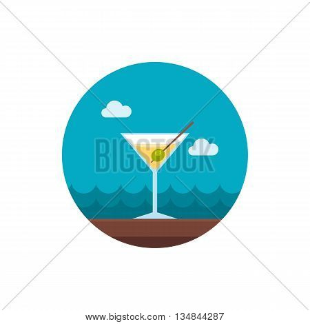 Martini. Cocktail vector icon. Beach. Summer. Summertime. Holiday. Vacation eps 10