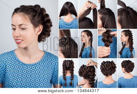 Hair tutorial. Hairstyle volume braids tutorial. Backstage technique of weaving plaits. Hairstyle. Tutorial. Braided updo tutorial