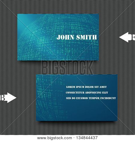 Business card template with abstract background. Eps10 Vector illustration