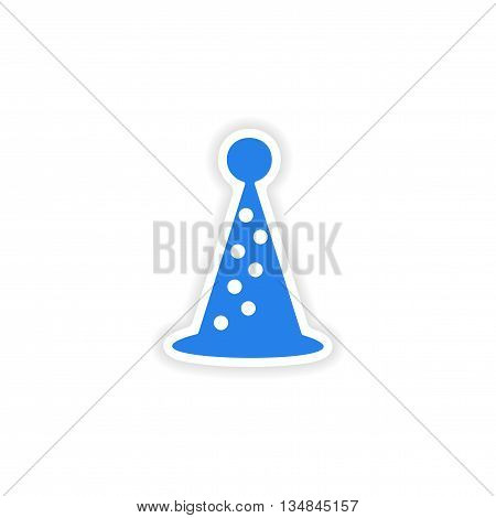 icon sticker realistic design on paper hat holiday