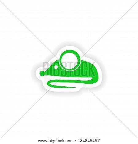 icon sticker realistic design on paper Mouse