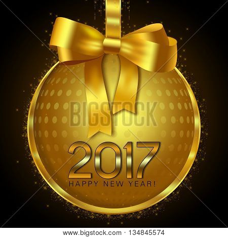 Gold disco ball bauble on a black background with New year wishes