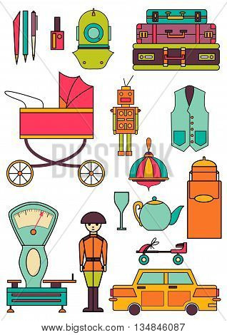 set of color vintage flat icons 80-90s. Vector EPS