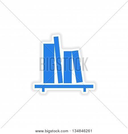 icon sticker realistic design on paper bookshelf