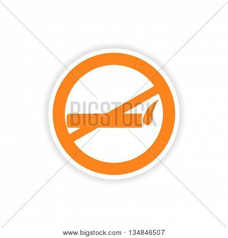 icon sticker realistic design on paper smoking allowed