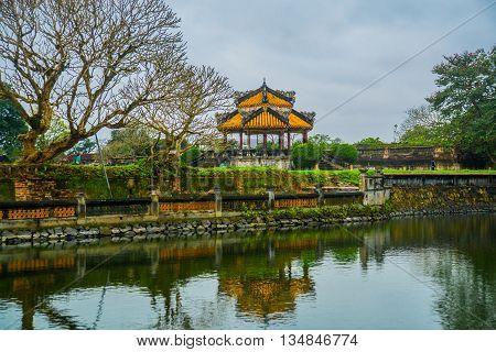 Pond,small Pavilion In Hue Citadel , Vietnam,asia