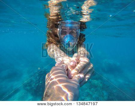 Woman in water, Woman snorkeling in blue sea