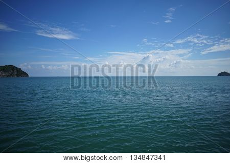 blue sea and blue sky with beautiful cloud