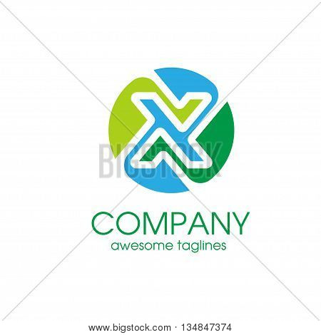 Letter X color elegant Alphabetical Logo Design Concepts