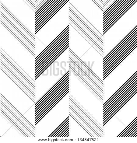Seamless Zig Zag Stripe Pattern. Abstract  Monochrome Background. Vector Regular Line Texture. Black and White Minimal Design