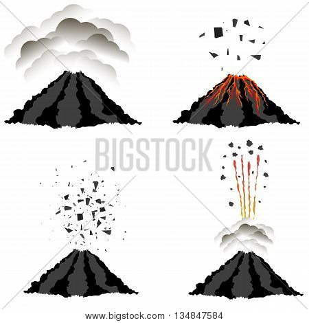Volcano Erupting Icons Isolated on White Background. Peak of Mountain. Fiery Crater of Volcano.