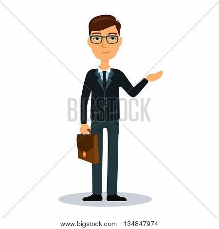 Businessman with briefcase. Business man character. Broker, manager or dealer. Flat vector illustration.