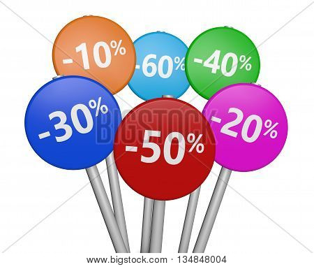 Shopping sale discount and promo with sign and percent symbol on colorful road signs 3D illustration on white background.