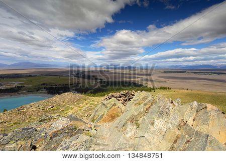 Vantage point overlooking Lake Tekapo, New Zealand.