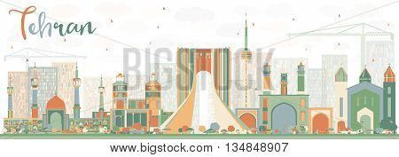 Abstract Tehran Skyline with Color Landmarks. Business Travel and Tourism Concept with Historic Buildings. Image for Presentation Banner Placard and Web Site.
