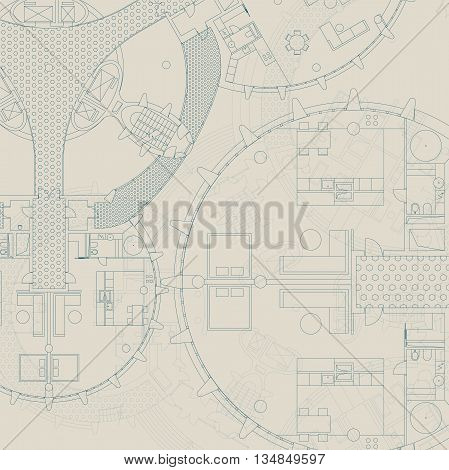 Blueprint. Architectural and engineering background Vector building plan.