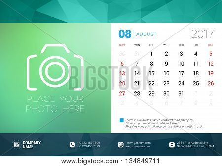 Desk Calendar Template For 2017 Year. August. Design Template With Place For Photo. Week Starts Sund