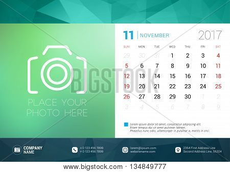 Desk Calendar Template For 2017 Year. November. Design Template With Place For Photo. Week Starts Su