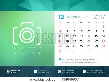 Desk Calendar Template For 2017 Year. December. Design Template With Place For Photo. Week Starts Su
