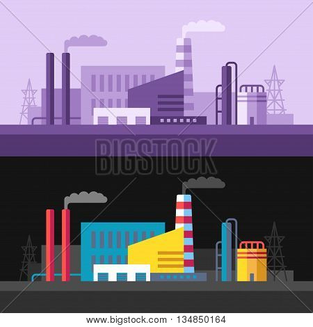 Industrial scenery with pipes factory buildings smoke. Violet monochrome and colored on black background flat vector illustrations
