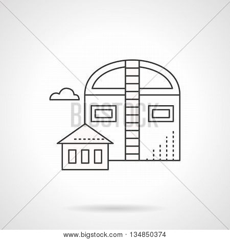 Industrial facilities and building. Barns symbol. Agricultural objects, storages for grain and harvest. Flat line style vector icon.