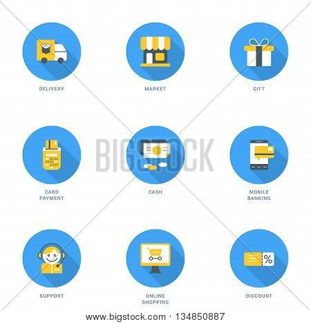 Set of Flat Design Business and Shopping Icons With Long Shadow. Delivery Market Gift Card Payment Cash Mobile Banking Support Online Shopping Discount. Vector Icons