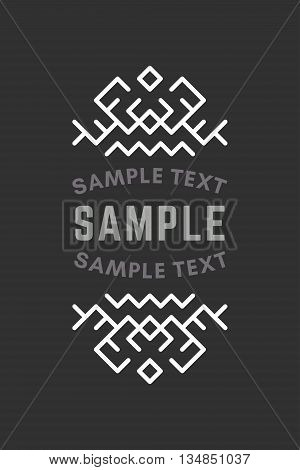 Slavic or Viking Style Oldfashioned Art Decorative Geometric Vector Frames and Borders. Black and white. Vector Ornaments Vector Decoration Line Ornament Vector Logos Vector Labels