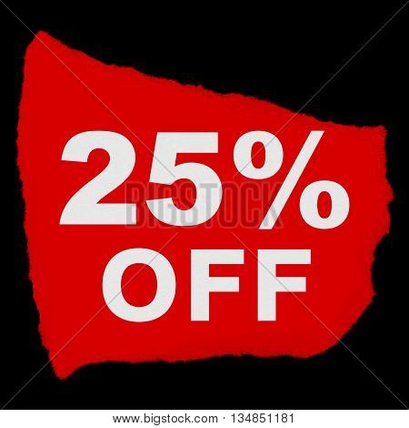 25% Off Torn Red Paper Scrap Isolated On Black Background