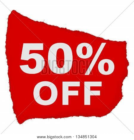 50% Off Torn Red Paper Scrap Isolated On White Background
