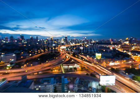 Twilights sky background, blurred lights city highway intersection, abstract background