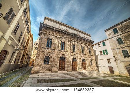 Piazza del Teatro in Alghero old town Italy