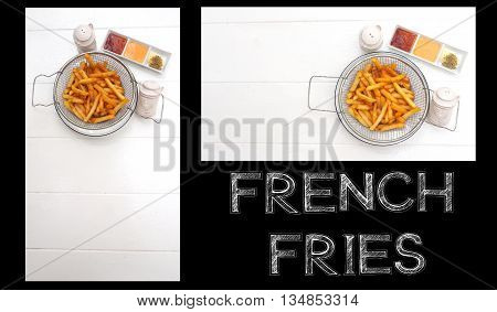 French Fries in basket white plate and dipping sauce on white wood two lay out.