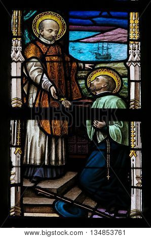 Stained Glass - Saints Francis Xavier And Ignatius Of Loyola