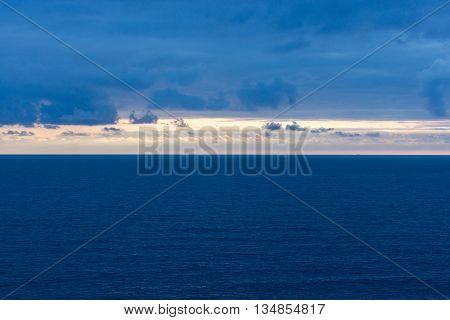 Landscape shot after sunset on the Black Sea coast