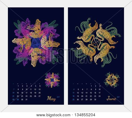 Animal printable calendar 2017 with flora and fauna fractals on dark blue background. Set 3 - May and June pages